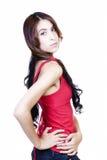 Μεμβρανοειδές ισπανικό τζιν παντελόνι κόκκινων κορυφών γυναικών Στοκ φωτογραφία με δικαίωμα ελεύθερης χρήσης