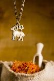Μενταγιόν με το σημάδι Aries και του σαφρανιού Στοκ φωτογραφίες με δικαίωμα ελεύθερης χρήσης
