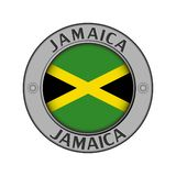 Μενταγιόν με το όνομα της Τζαμάικας και μιας στρογγυλής σημαίας ελεύθερη απεικόνιση δικαιώματος