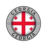Μενταγιόν με το όνομα της χώρας Γεωργία και μιας στρογγυλής σημαίας ελεύθερη απεικόνιση δικαιώματος
