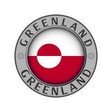 Μενταγιόν με το όνομα της χώρας Γροιλανδία και ενός στρογγυλού fla ελεύθερη απεικόνιση δικαιώματος