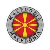Μενταγιόν με το όνομα της χώρας της Μακεδονίας και ενός κύκλου διανυσματική απεικόνιση