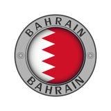 Μενταγιόν με το όνομα της χώρας Μπαχρέιν και μιας στρογγυλής σημαίας διανυσματική απεικόνιση