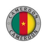 Μενταγιόν με το όνομα της χώρας του Καμερούν και ενός στρογγυλού φ απεικόνιση αποθεμάτων