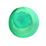 Μεντών κύκλος watercolor που απομονώνεται πράσινος στο λευκό αφηρημένος κύκλος ανασκό&p Σύσταση λεκέδων Watercolour Διάστημα για  Στοκ εικόνες με δικαίωμα ελεύθερης χρήσης