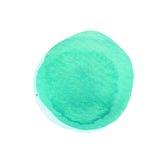 Μεντών κύκλος watercolor που απομονώνεται πράσινος στο λευκό αφηρημένος κύκλος ανασκό&p Σύσταση λεκέδων Watercolour Διάστημα για  Στοκ φωτογραφία με δικαίωμα ελεύθερης χρήσης