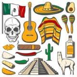 Μεξικάνικα εικονίδια σκίτσων γιορτής Cinco de Mayo διανυσματικά ελεύθερη απεικόνιση δικαιώματος