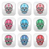 Μεξικάνικα κουμπιά κρανίων ζάχαρης με το χειμερινό σκανδιναβικό σχέδιο Στοκ Φωτογραφίες