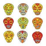 Μεξικάνικα κρανία emoticons διανυσματική απεικόνιση