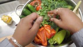 Μεξικάνικα τρόφιμα συνδετήρας Το άτομο ολοκληρώνει την προετοιμασία του βόειου κρέατος Fajitas πιάτων - παραδοσιακό πιάτο του Μεξ απόθεμα βίντεο