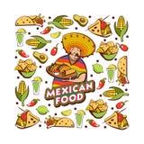 Μεξικάνικα τρόφιμα Χαριτωμένος μεξικανός που κρατά έναν δίσκο των μεξικάνικων τροφίμων Ένα σύνολο διανυσματική απεικόνιση