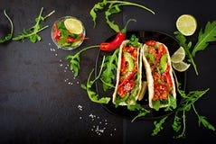 Μεξικάνικα tacos με τη λωρίδα κοτόπουλου στη σάλτσα ντοματών και το salsa Στοκ Εικόνες