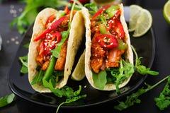 Μεξικάνικα tacos με τη λωρίδα κοτόπουλου στη σάλτσα ντοματών και το salsa Στοκ εικόνα με δικαίωμα ελεύθερης χρήσης