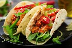 Μεξικάνικα tacos με τη λωρίδα κοτόπουλου στη σάλτσα ντοματών και το salsa Στοκ Φωτογραφίες