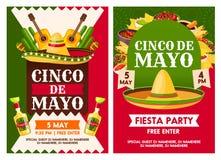 Μεξικάνικες διανυσματικές αφίσες κομμάτων διακοπών Cinco de Mayo διανυσματική απεικόνιση