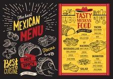 Μεξικάνικες επιλογές εστιατορίων στο υπόβαθρο πινάκων Διανυσματικό ΛΦ τροφίμων Στοκ Φωτογραφία