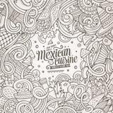 Μεξικάνικη απεικόνιση τροφίμων κινούμενων σχεδίων doodles Στοκ Εικόνα