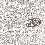 Μεξικάνικη απεικόνιση τροφίμων κινούμενων σχεδίων doodles Στοκ εικόνα με δικαίωμα ελεύθερης χρήσης