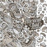 Μεξικάνικη απεικόνιση τροφίμων κινούμενων σχεδίων doodles Στοκ εικόνες με δικαίωμα ελεύθερης χρήσης