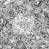 Μεξικάνικη απεικόνιση τροφίμων κινούμενων σχεδίων doodles Στοκ φωτογραφίες με δικαίωμα ελεύθερης χρήσης