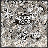 Μεξικάνικη απεικόνιση τροφίμων κινούμενων σχεδίων doodles Στοκ Εικόνες