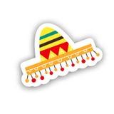 Μεξικάνικη γιορτή sambrero για Cinco de Mayo Συρμένη χέρι αυτοκόλλητη ετικέττα des Στοκ φωτογραφία με δικαίωμα ελεύθερης χρήσης