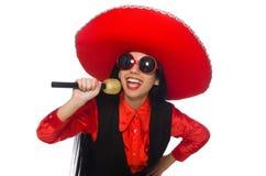 Μεξικάνικη γυναίκα στην αστεία έννοια στο λευκό Στοκ φωτογραφία με δικαίωμα ελεύθερης χρήσης