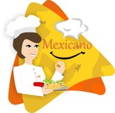Μεξικάνικη διανυσματική απεικόνιση λογότυπων εστιατορίων τροφίμων απεικόνιση αποθεμάτων