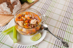 Μεξικάνικη σούπα με το κοτόπουλο, το σέλινο και τα λαχανικά Στοκ Φωτογραφία