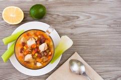 Μεξικάνικη σούπα με το κοτόπουλο, το σέλινο και τα λαχανικά Στοκ Εικόνες