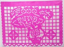 Μεξικάνικη dia de muertos papel τέχνη κρανίων εγγράφου περικοπών picado που χαρακτηρίζει τη Catrina Στοκ εικόνα με δικαίωμα ελεύθερης χρήσης
