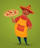 Μεξικάνικος αρχιμάγειρας με την πίτσα, διανυσματικός χαρακτήρας κινουμένων σχεδίων ελεύθερη απεικόνιση δικαιώματος