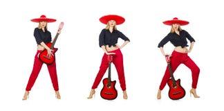 Μεξικάνικος κιθαρίστας γυναικών που απομονώνεται στο λευκό στοκ εικόνες με δικαίωμα ελεύθερης χρήσης