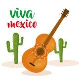 Μεξικάνικος πολιτισμός κιθάρων και κάκτων Στοκ εικόνα με δικαίωμα ελεύθερης χρήσης