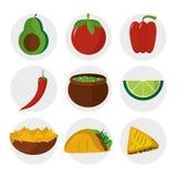 Μεξικάνικο καθορισμένο σχέδιο εικονιδίων τροφίμων Στοκ φωτογραφίες με δικαίωμα ελεύθερης χρήσης