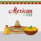 Μεξικάνικο καθορισμένο σχέδιο εικονιδίων τροφίμων Στοκ Εικόνες