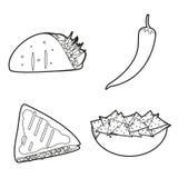 Μεξικάνικο καθορισμένο σχέδιο εικονιδίων τροφίμων Στοκ Φωτογραφία