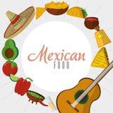 Μεξικάνικο καθορισμένο σχέδιο εικονιδίων τροφίμων Στοκ φωτογραφία με δικαίωμα ελεύθερης χρήσης