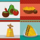 Μεξικάνικο καθορισμένο σχέδιο εικονιδίων τροφίμων Στοκ εικόνα με δικαίωμα ελεύθερης χρήσης