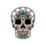 Μεξικάνικο κρανίο ζάχαρης με τη ζωηρόχρωμη floral διακόσμηση, ημέρα της διανυσματικής απεικόνισης θανάτου Στοκ Φωτογραφίες