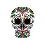 Μεξικάνικο κρανίο ζάχαρης με τη ζωηρόχρωμη floral διακόσμηση, Dia de Muertos διανυσματική απεικόνιση Στοκ Φωτογραφία