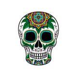 Μεξικάνικο κρανίο ζάχαρης με τη floral διακόσμηση, Dia de Muertos διανυσματική απεικόνιση Στοκ Εικόνες