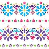 Μεξικάνικο λαϊκό άνευ ραφής διανυσματικό υπόβαθρο - ζωηρόχρωμα μακροχρόνια σχέδια με τα λουλούδια ελεύθερη απεικόνιση δικαιώματος