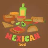 Μεξικάνικο παραδοσιακό σύνολο τροφίμων, παραδοσιακό cusine του Μεξικού, λατίνα takos επιλογών γρήγορου φαγητού, burrito Στοκ φωτογραφία με δικαίωμα ελεύθερης χρήσης