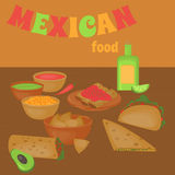Μεξικάνικο παραδοσιακό σύνολο τροφίμων, παραδοσιακό cusine του Μεξικού, λατίνα takos επιλογών γρήγορου φαγητού, burrito Στοκ φωτογραφίες με δικαίωμα ελεύθερης χρήσης