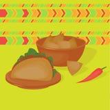Μεξικάνικο παραδοσιακό σύνολο τροφίμων, παραδοσιακό cusine του Μεξικού, λατίνα takos επιλογών γρήγορου φαγητού και nachos Στοκ Φωτογραφίες