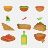 Μεξικάνικο παραδοσιακό σύνολο τροφίμων, παραδοσιακό cusine του Μεξικού, λατίνα takos επιλογών γρήγορου φαγητού, burrito Στοκ εικόνες με δικαίωμα ελεύθερης χρήσης