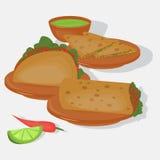 Μεξικάνικο παραδοσιακό σύνολο τροφίμων, παραδοσιακό cusine του Μεξικού, λατίνα takos επιλογών γρήγορου φαγητού, burrito Στοκ Εικόνα