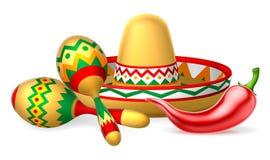 Μεξικάνικο σομπρέρο Maracas και πιπέρι τσίλι Στοκ φωτογραφίες με δικαίωμα ελεύθερης χρήσης