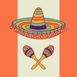 Μεξικάνικο σχέδιο με το σομπρέρο και τον κάκτο Στοκ φωτογραφία με δικαίωμα ελεύθερης χρήσης